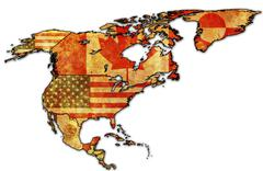 country flags on political map of north america - stock illustration