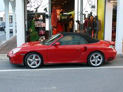 Red convertible Porsche 911 Turbo Stock Photos