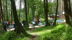The queue for water on a spring in the summer in Russia  Stock Footage