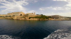 View on Valletta from the sea Stock Footage