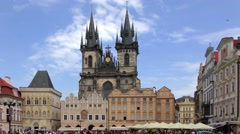 4K footage of the Church of Our Lady before Tyn in Prague, Czech Republic Stock Footage