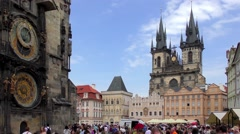 The Astronomical Clock and the Church of Our Lady  - stock footage