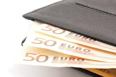 50 euro banknotes in leather wallet Stock Photos
