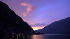 4k Sunset at alps mountain village Hallstatt with lake view Stock Footage