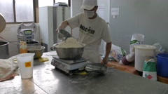 Adding Flour To The Bread Making Machine - 4K Stock Footage