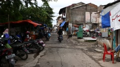POV move on poor ghetto street, slum area of the Jakarta city. Stock Footage