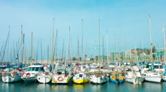 Barcelona Port Olimpic and Fish sculpture Stock Footage