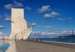 Embankment of river Tagus, Lisbon, Portugal Stock Photos