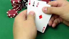 Stock Video Footage of three ace in hand