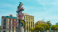 Barcelona head sculpture 4K Stock Footage