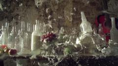 SLow mo explosion bottle of milk Stock Footage