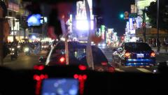 Drivers view stuck in traffic at night Stock Footage