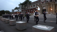 Military brass marching band Stock Footage
