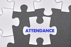 Jigsaw puzzle written word attendance Stock Photos