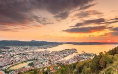 Cityspace of Bergen, panoramic view Stock Photos