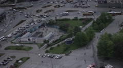 Centrum Roundabout in Warsaw Poland Stock Footage