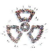 People in the shape of radiation sign Stock Illustration