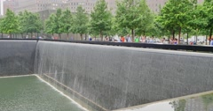 World Trade Center Memorial Pools Stock Footage