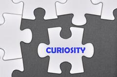 jigsaw puzzle written word curiosity - stock photo