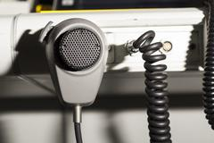 air traffic controller and microphone - stock photo