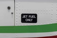 Close up aircraft jet fuel only label Stock Photos