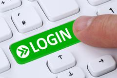 Push Login button submit on computer - stock illustration