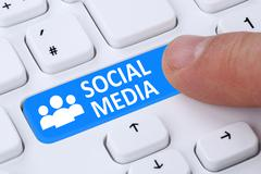 Social networking or media push button internet online friendship Stock Illustration