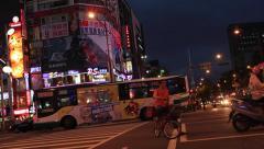 Pedestrian crossing  at Peak hour in Taipei Stock Footage