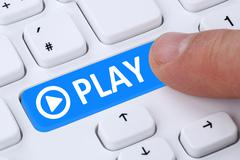 Press Play Button for listening music or movie on internet computer - stock illustration