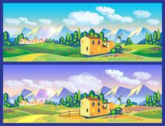 countryside in the spring and summer - stock illustration