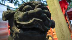 Asian concrete dragon statue Stock Footage