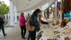 Shops with amber and souvenirs in Sopot, Poland - stock footage