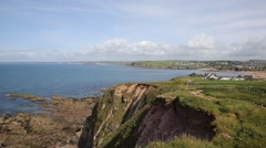 Coast view towards Thurlestone South Devon England UK Stock Footage