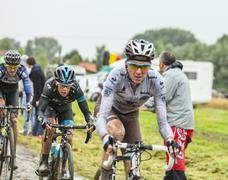 The Cyclist Richie Porte on a Cobbled Road - Tour de France 2014 Stock Photos