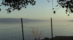 Lake Galilee. The view from the monastery. Stock Footage