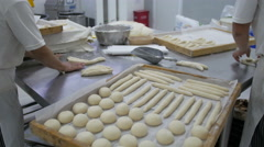 Preparing Bread Products Stock Footage