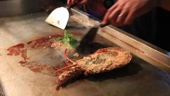 Cooking fresh lobster Crab at markets Stock Footage