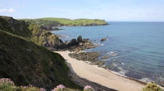South west coast view towards Hope Cove southern Devon England UK Stock Footage