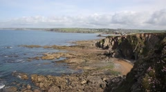 Coast view to Thurlestone South Devon England UK from the direction of Hope Cove Stock Footage
