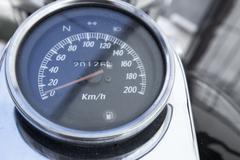 Analog Instrumentation Guage for a Motorcycle - stock photo