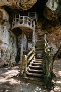 Staircase leading up a rock face designed to look like ancient, rotting wood. - stock photo