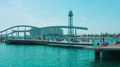 Rambla de Mar Barcelona 4k Stock Footage