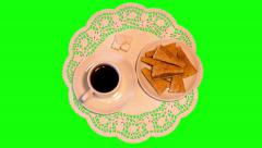 4k black coffee, chocolate puff biscuits on saucers and sugar on paper napkin Stock Footage