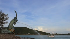 Dragon fountain in Songkhla Thailand Stock Footage