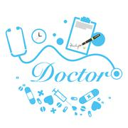 vector doctor title with medical instruments - stock illustration