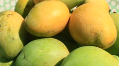 Mangoes on plate Stock Footage