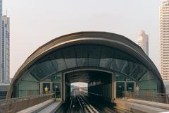 Railway Approach to a Transit Station in Dubai - stock photo