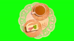 4k white coffee, small cream cake on saucers and sugar on paper napkin 01 Stock Footage