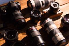 A vintage camera with retro revival and lens cap Stock Photos