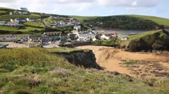 Outer beach Hope Cove South Devon England UK near Salcombe  PAN Stock Footage
